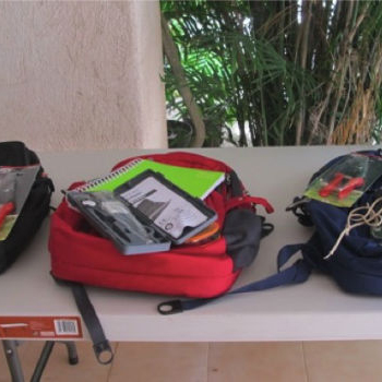 Backpacks equipped for trainees